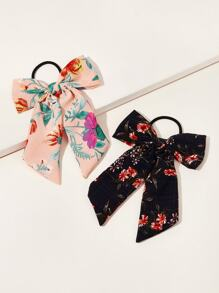 Flower Pattern Scrunchie Scarf 2pcs