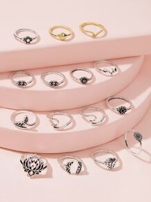 Flower & Leaf Decor Ring 15pcs