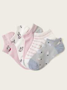 Rabbit Pattern Invisible Socks 5pairs