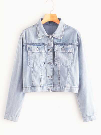 Bleach Wash Flap Pocket Denim Jacket