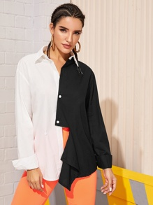 Button Front Colorblock Spliced Blouse