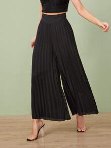 Pleated Elastic Waist Wide Leg Pants