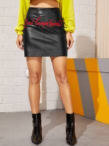PU Letter Embroidery Mini Skirt