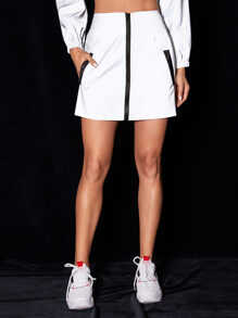 Zip Up Sheath Windbreaker Skirt