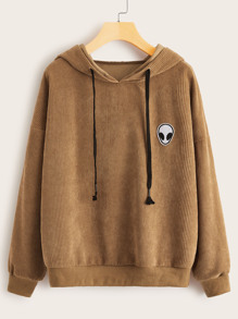 Alien Patched Drawstring Hooded Corduroy Sweatshirt
