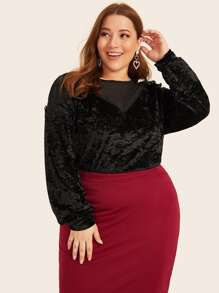 Plus Mesh Panel Velvet Blouse