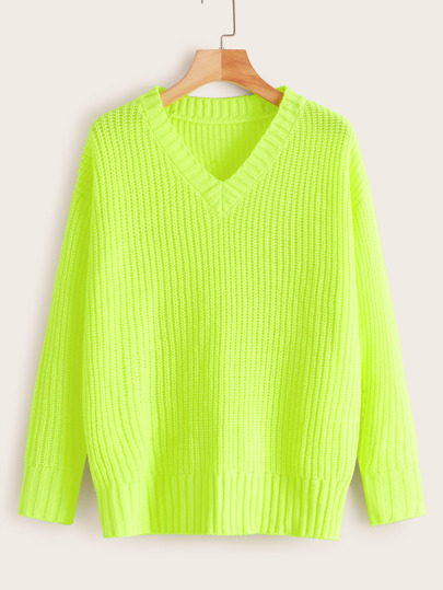 Neon Lime Ribbed Knit Sweater