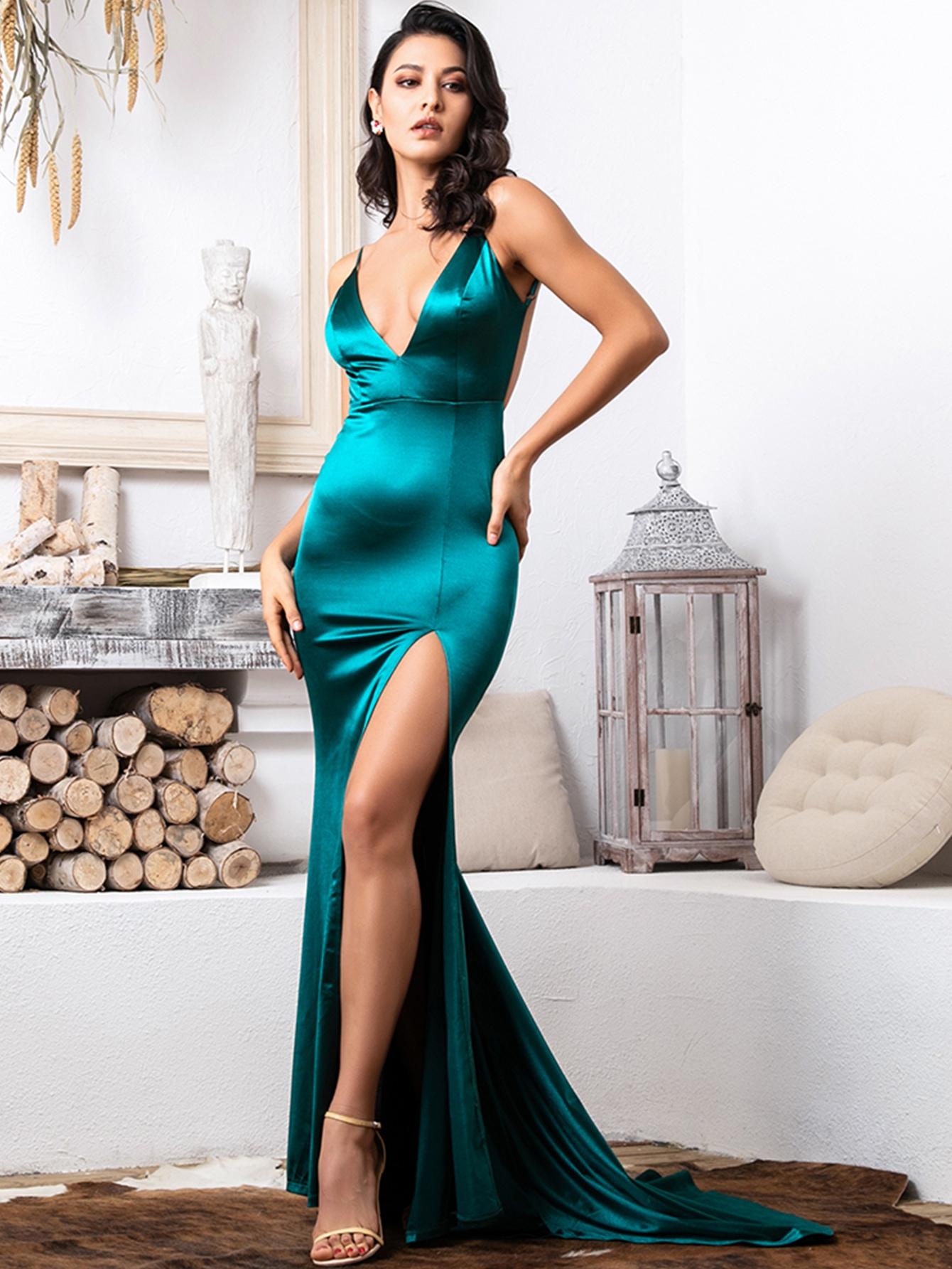 Backless Ruched Split Thigh Satin Cami Dress thumbnail