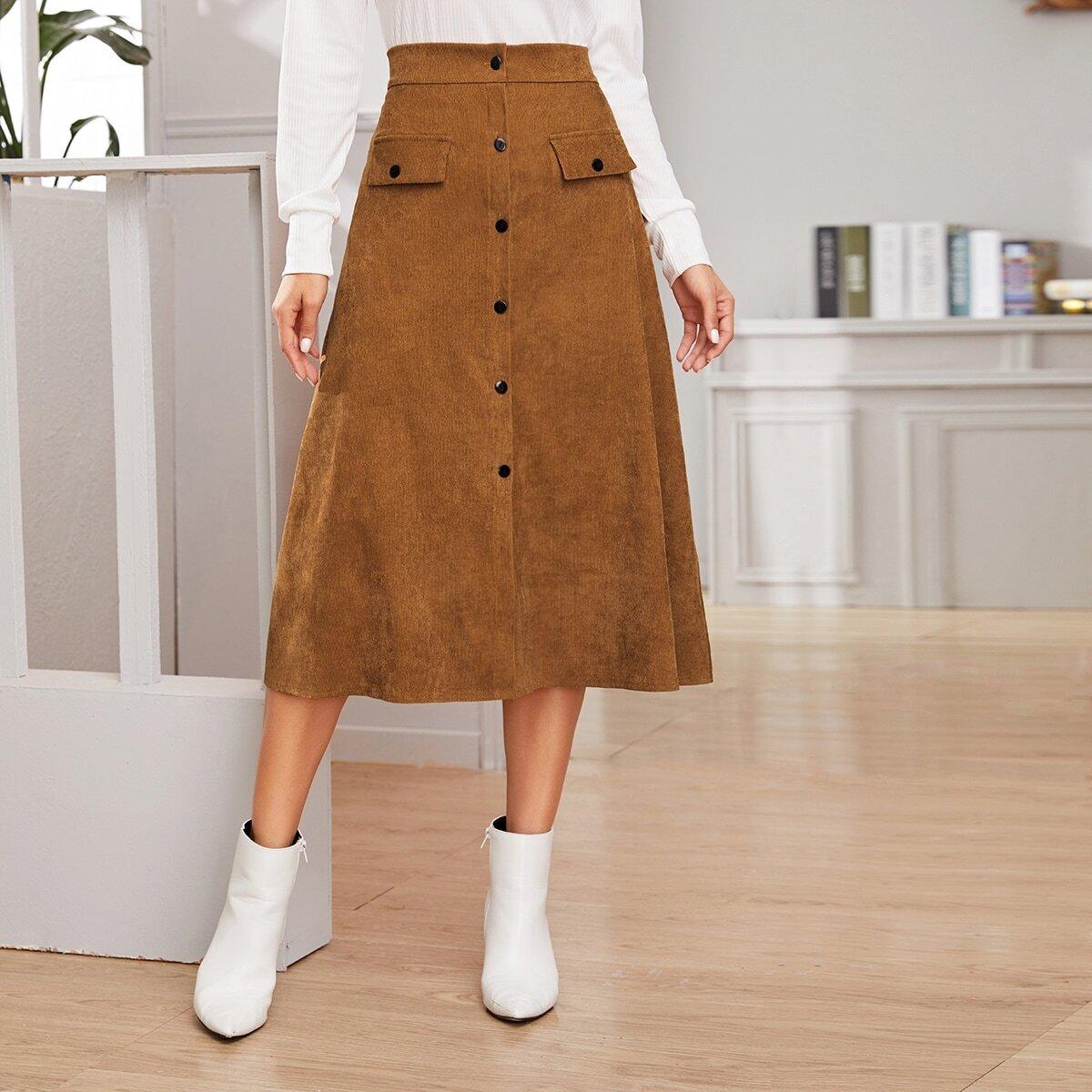 Вельветовая миди-юбка с пуговицами