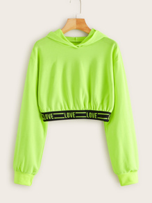 Neon Lime Letter Print Tape Crop Sweatshirt