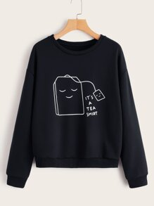 Cartoon & Slogan Print Drop Shoulder Sweatshirt