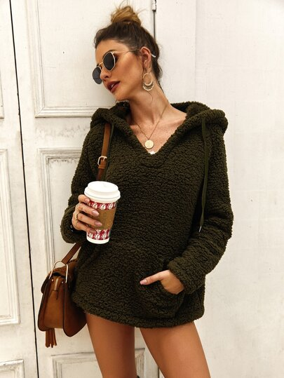 Pocket Front V Neck Drawstring Teddy Hoodie