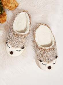Hedgehog Design Faux Fur Lined Slippers