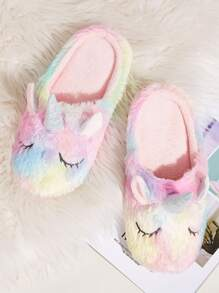 Unicorn Design Fluffy Slippers