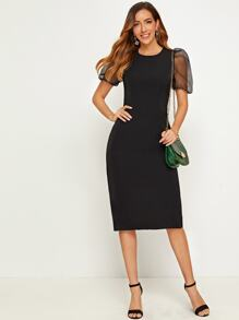 Mesh Panel Puff Sleeve Fitted Dress