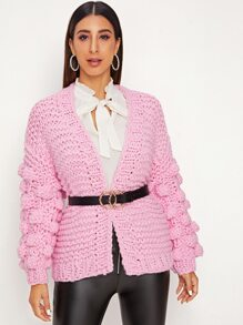 Ball Shaped Chunky Knit Cardigan Without Belted
