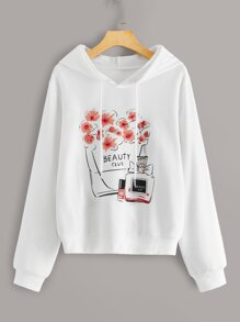 Floral And Beauty Print Drawstring Hooded Sweatshirt