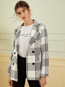 Double Breasted Plaid Lapel Collar Blazer