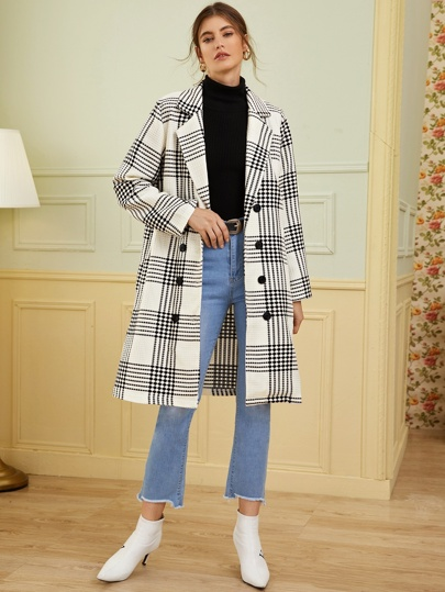 Lapel Collar Double Breasted Plaid Coat