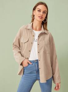 Corduroy Button Front High Low Hem Coat