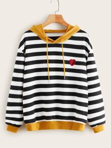 Contrast Panel Heart Sequin Striped Hoodie