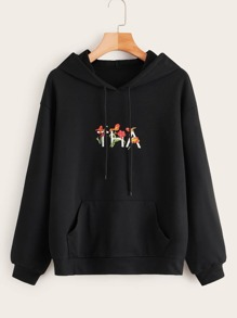 Floral And Letter Print Kangaroo Pocket Hoodie