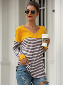 V Neck Contrast Panel Striped Tee