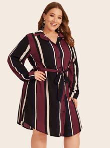 Plus Striped Curved Hem Belted Shirt Dress