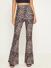 Zebra Striped Flare Leg Pants