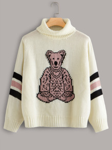 Plus Bear Pattern High Neck Sweater