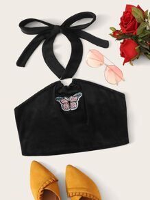 Butterfly Embroidered Velvet Halter Top
