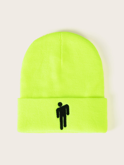 Figure Pattern Lime Cuffed Beanie