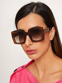 Two Tone Square Frame Sunglasses With Case