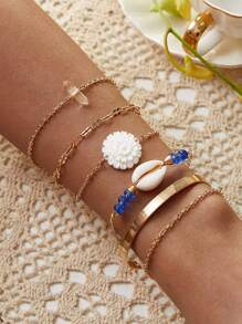 Shell & Flower Decor Chain Bracelet 6pcs
