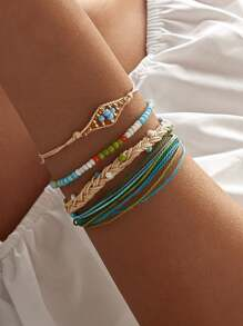 Bead Braided String Bracelet 4pcs