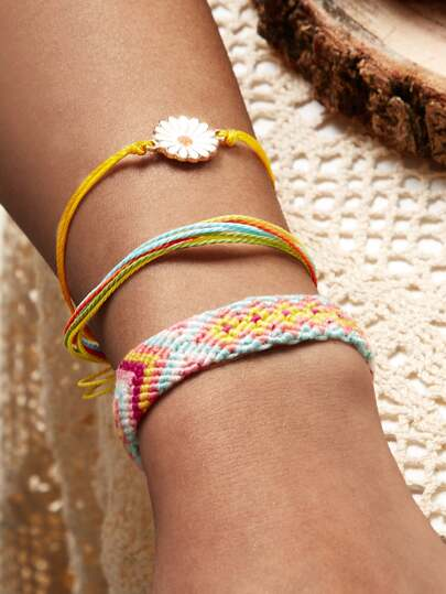 Daisy Decor String Bracelet 3pcs
