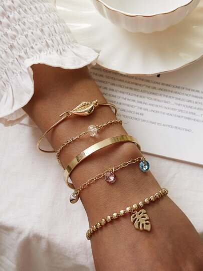 Shell & Leaf Decor Bracelet 5pcs