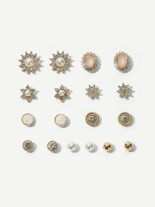 Rhinestone Engraved Flower & Faux Pearl Stud Earrings 9pairs