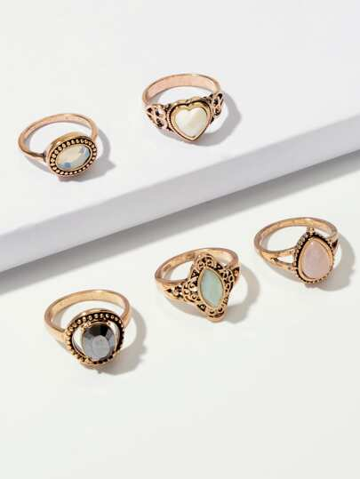 Gemstone Decor Ring 5pcs
