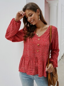 Ditsy Floral Ruffle Hem Button Blouse