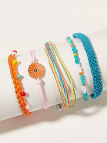 Daisy Decor Braided String Bracelet 5pcs