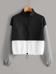 Cut And Sew Zipper Drawstring Windbreaker Jacket