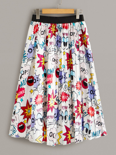 Allover Comic Print Elastic Waist Pleated Skirt