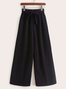 Solid Belted Wide Leg Pants