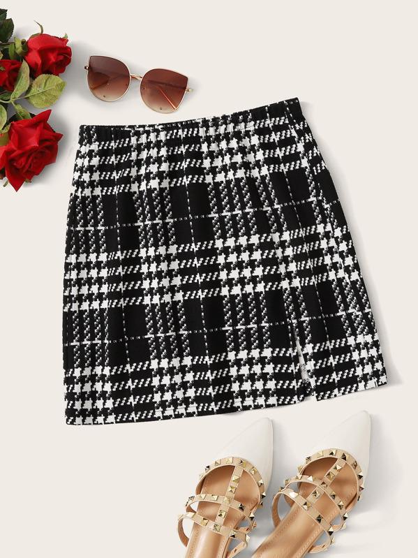 SheinPlus Split Hem Plaid Skirt by Sheinside