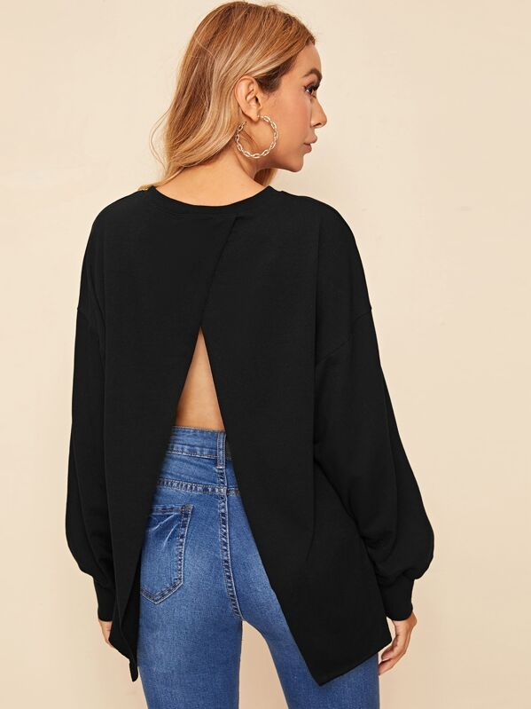 Shein Wrap Open Back Pullover by Sheinside