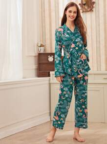 Flamingo & Leaf Print Wrap Pajama Set