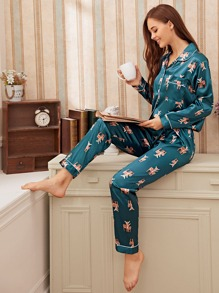 Deer Print Satin Pajama Set