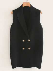 Double Breasted Solid Blazer Vest