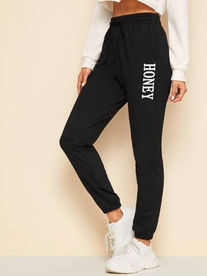 Letter Print Slant Pocket Sweatpants